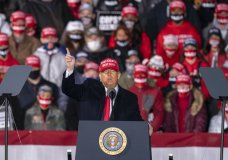President Donald Trump speaks during a campaign rally at Southern Wisconsin Regional Airport, Saturday, Oct. 17, 2020, in Janesville, Wis. (AP Photo/Andy Manis)