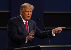 President Donald Trump gestures while speaking during the second and final presidential debate Thursday, Oct. 22, 2020, at Belmont University in Nashville, Tenn. (AP Photo/Patrick Semansky)