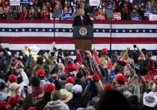 President Donald Trump addresses the crowd at a rally for U.S. Senators Kelly Loeffler, R-Ga., and David Perdue, R-Ga., who are both facing runoff elections Saturday, Dec. 5, 2020, in Valdosta, Ga. (AP Photo/Ben Gray)
