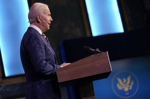 President-elect Joe Biden speaks at The Queen theater, Tuesday, Dec. 29, 2020, in Wilmington, Del. (AP Photo/Andrew Harnik)