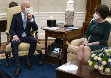 President Joe Biden meets with Sen. Susan Collins, R-Maine, to discuss a coronavirus relief package, in the Oval Office of the White House, Monday, Feb. 1, 2021, in Washington. (AP Photo/Evan Vucci)