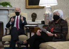 President Joe Biden meets with Treasury Secretary Janet Yellen in the Oval Office of the White House, Friday, Jan. 29, 2021, in Washington. (AP Photo/Evan Vucci)