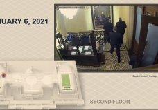 In this image from video, a security video shows senators leaving the Senate floor as rioters breach the Capitol, as House impeachment manager Del. Stacey Plaskett, D-Virgin Islands, speaks during the second impeachment trial of former President Donald Trump in the Senate at the U.S. Capitol in Washington, Wednesday, Feb. 10, 2021. (Senate Television via AP)