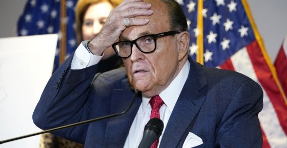 FILE - In this Nov. 19, 2020, file photo, former New York Mayor Rudy Giuliani, who was a lawyer for President Donald Trump, speaks during a news conference at the Republican National Committee headquarters in Washington. The U.S. Attorney's Office in Manhattan has returned to the question of whether to bring a criminal case against the former New York mayor, focusing at least in part on whether he broke U.S. lobbying laws by failing to register as a foreign agent, according to people familiar with the case. (AP Photo/Jacquelyn Martin, File)