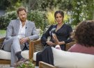 """This image provided by Harpo Productions shows Prince Harry, left, and Meghan, Duchess of Sussex, in conversation with Oprah Winfrey. """"Oprah with Meghan and Harry: A CBS Primetime Special"""" airs March 7, 2021. Britain's royal family and television have a complicated relationship. The medium has helped define the modern monarchy: The 1953 coronation of Queen Elizabeth II was Britain's first mass TV spectacle. Since then, rare interviews have given a glimpse behind palace curtains at the all-too-human family within. (Joe Pugliese/Harpo Productions via AP, File)"""