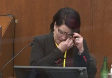 In this image from video, witness Courtney Ross answers questions as Hennepin County Judge Peter Cahill presides Thursday, April 1, 2021, in the trial of former Minneapolis police Officer Derek Chauvin at the Hennepin County Courthouse in Minneapolis, Minn. Chauvin is charged in the May 25, 2020 death of George Floyd. (Court TV via AP, Pool)