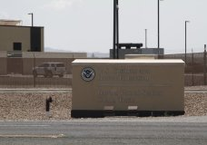 FILE - In this June 26, 2019, file photo, the entrance to the Border Patrol station in Clint, Texas. More Americans disapprove than approve  of how President Joe Biden is handling waves of unaccompanied immigrant children arriving at the U.S.-Mexico border, and his efforts on larger immigration policy aren't polling as well as those on other top issues. (AP Photo/Cedar Attanasio, File)