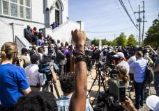 """The North Carolina NAACP and clergy urge state attorney general Josh Stein to take over the investigation into the police shooting death of Andrew Brown Jr. during a press conference at the Mt. Lebanon AME Zion Church, Tuesday, April 27, 2021, in Elizabeth City, N.C. The FBI's Charlotte field office, which opened the civil rights investigation into Brown's death, said in a statement that its agents planned to work closely with the Department of Justice """"to determine whether federal laws were violated."""" (Travis Long/The News & Observer via AP)"""