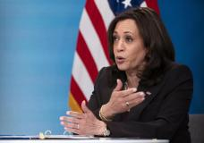 Vice President Kamala Harris meets virtually with Guatemalan community-based organizations, Tuesday, April 27, 2021, from the South Court Auditorium of the Eisenhower Executive Office Building on the White House complex in Washington. (AP Photo/Jacquelyn Martin)