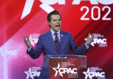 This Feb. 26, 2021 photo shows U.S. Rep. Matt Gaetz -R-Florida, speaking at CPAC at the Hyatt Regency in Orlando, Fla. Gaetz, a prominent conservative in Congress and a close ally of former President Donald Trump, said Tuesday, March 30, he is being investigated by the Justice Department over a former relationship but denied any criminal wrongdoing. (Stephen M. Dowell/Orlando Sentinel via AP)