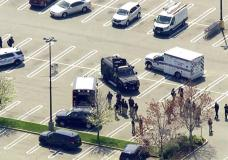 This aerial photo provided by WABC shows police responding to the scene of a shooting at a Stop & Shop supermarket in West Hempstead, N.Y., on Tuesday, April 20, 2021. Nassau County Executive Lau...
