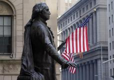 The Federal Hall statue of George Washington overlooks the New York Stock Exchange, Monday, June 7, 2021. Stocks are nudging mostly higher in early trading, putting the S&P 500 and the Dow Jones Industrial Average back near the record highs they reached a month ago. (AP Photo/Richard Drew)