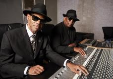 """Jimmy Jam, left, and Terry Lewis pose for a portrait in New York on Monday, July 26, 2021. The duo, who've worked with Prince, Michael Jackson, Mariah Carey, Boyz II Men and more enlisted some old friends for their album """"""""Jam & Lewis: Volume One."""" (Photo by Matt Licari/Invision/AP)"""