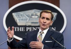 Pentagon spokesman John Kirby speaks during a briefing at the Pentagon in Washington, Thursday, Aug. 12, 2021. With security rapidly deteriorating in Afghanistan, the United States is evacuating some personnel from the U.S. Embassy in Kabul, and U.S. troops with be assisting at the Kabul airport. (AP Photo/Andrew Harnik)