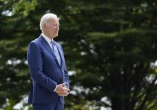 President Joe Biden waits to speak on the North Lawn of the White House in Washington, Friday, Oct. 8, 2021, during an event announcing that his administration is restoring protections for two sprawling national monuments in Utah that have been at the center of a long-running public lands dispute, and a separate marine conservation area in New England that recently has been used for commercial fishing. (AP Photo/Susan Walsh)