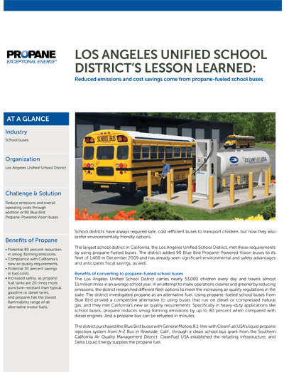 LA unified schools | Converting to propane fuel