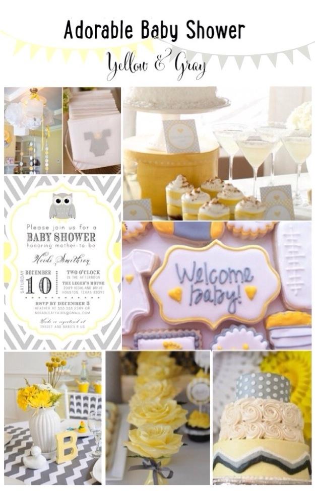 baby shower ideas yellow gray