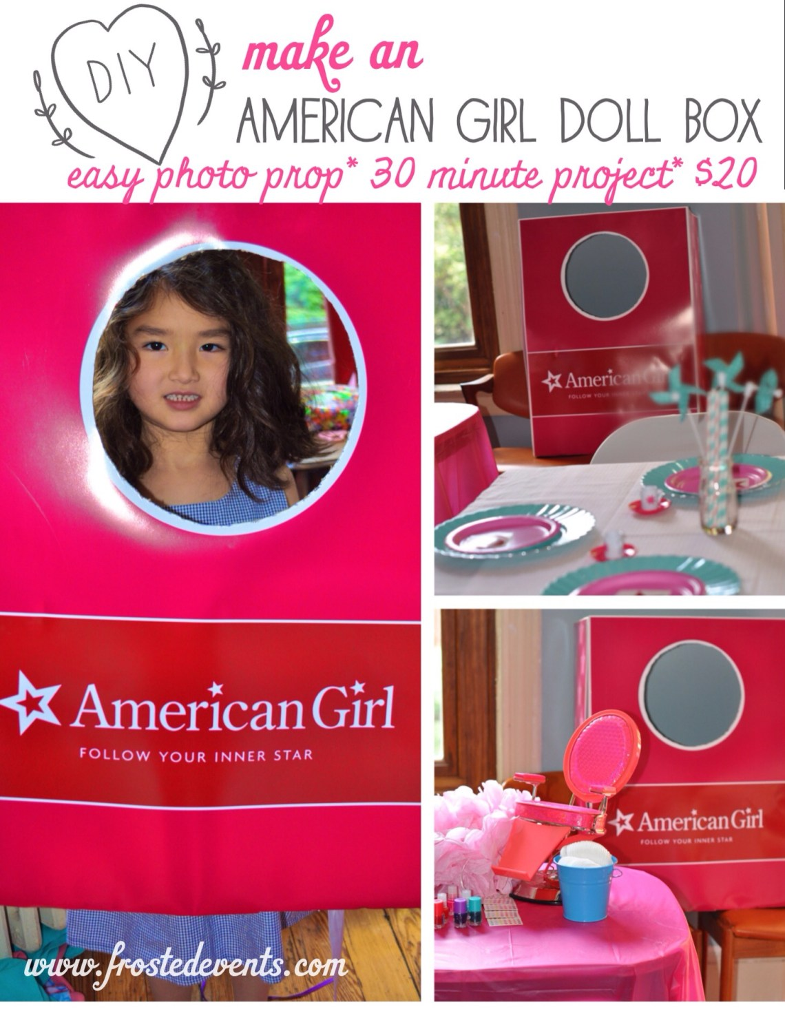 American Girl Games + American Girl Doll Box Photo Prop DIY Make www.frostedevents.com