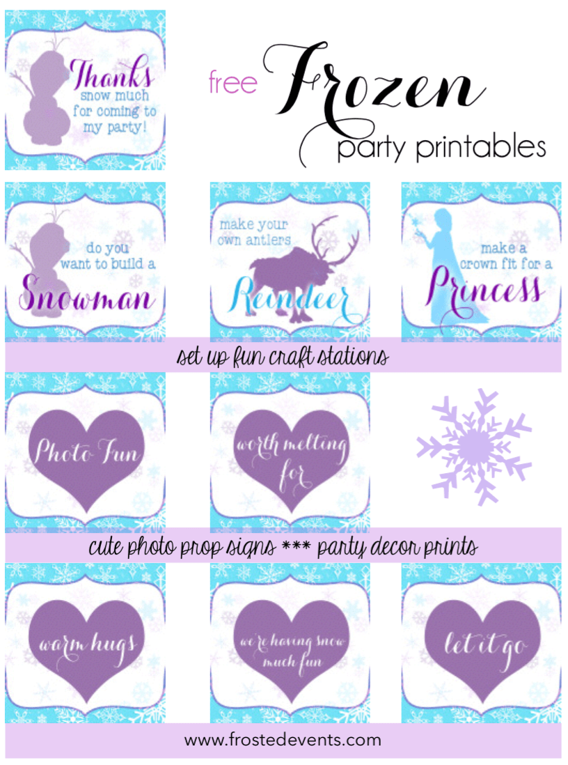 Free Frozen Printables- Frozen theme party decorations Frosted Events www.frostedevents.coma