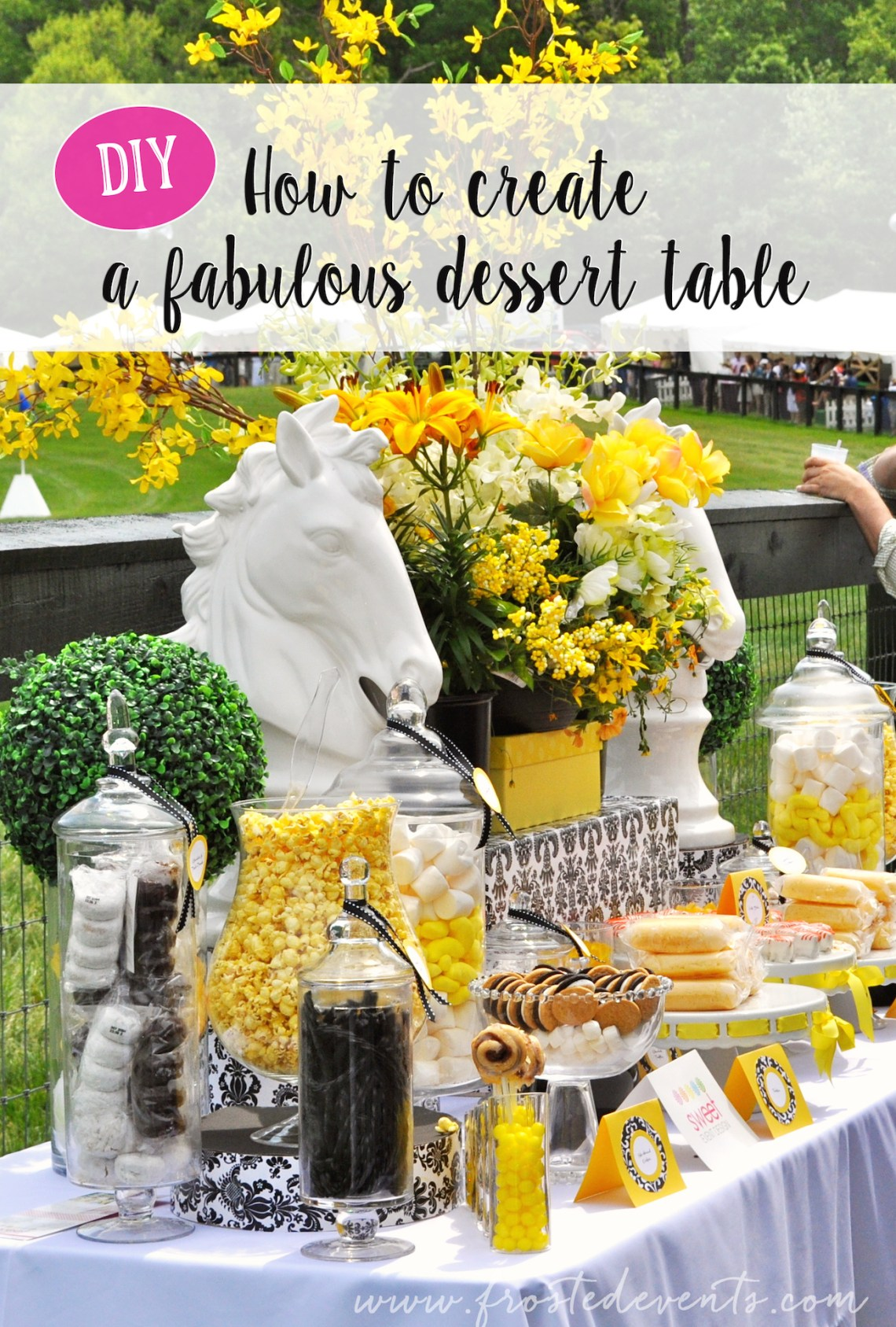 Diy dessert table for wedding or party dessert table candy buffet wedding ideas inspiration horse derby theme frostedevents desserttable candybuffet watchthetrailerfo
