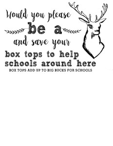 Fun printable Big Bucks envelope and chart to collect BoxTops for Education. Get your friends and family involved in an easy, awesome fundraiser