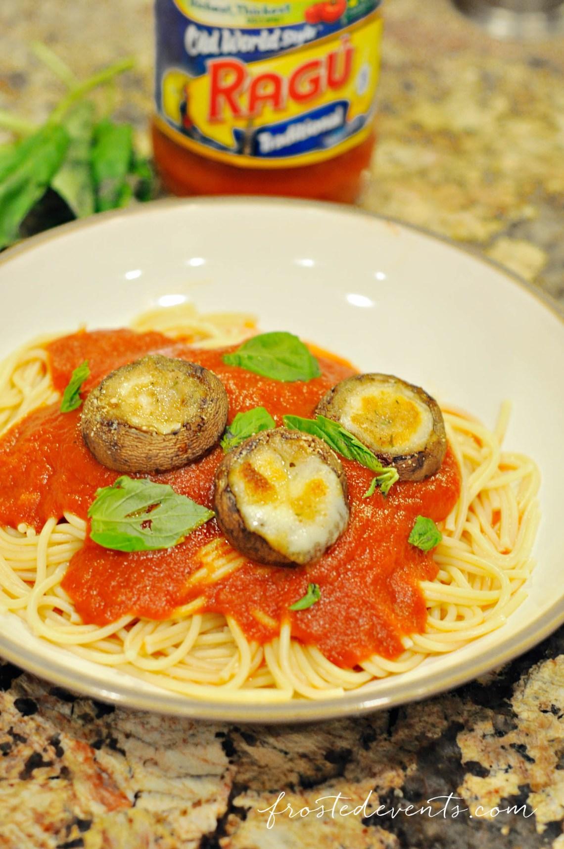 Ragu Recipe Easy Stuffed Mushrooms Recipe with Mozzarella Dinner Recipes #simmeredintradition