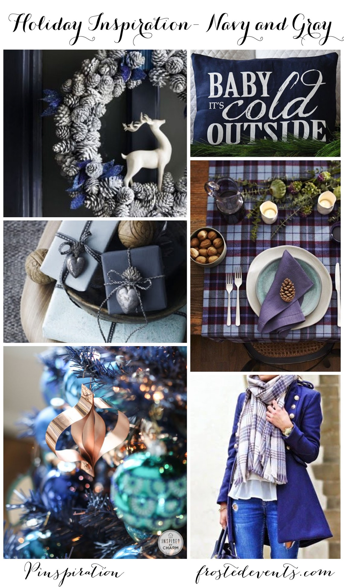 Christmas Decor Ideas + Blue and Gray Christmas + Blue Holiday Inspiration