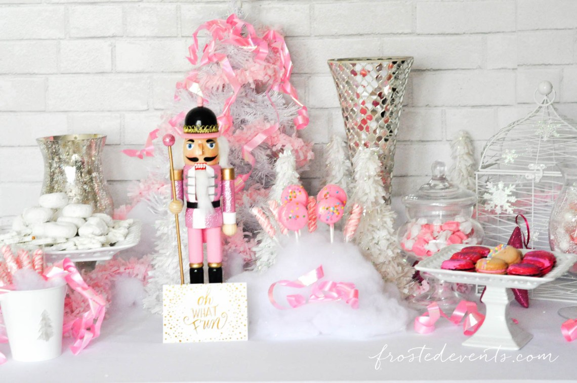 The Prettiest Pink Christmas Desserts Party Table frostedevents.com Target nutcracker