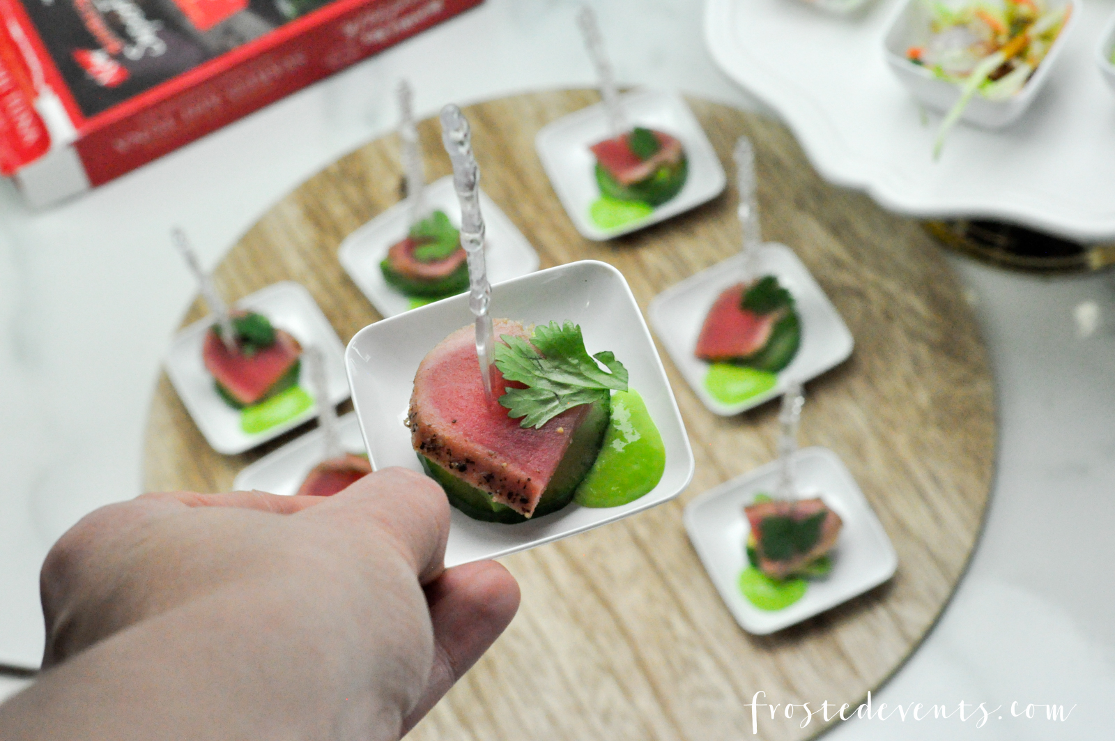 Seared tuna appetizer christmas recipes holiday appetizer party food hosting a holiday dinner thats simple and fabulous seared ahi tuna bites appetizer forumfinder Choice Image