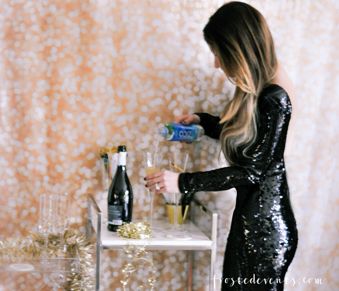 New Years Eve Party Ideas - Cocktail Recipe Pineapple Coconut Prosecco Sparkler Recipe with ZICO Coconut Water via Misty Nelson frostedMOMS blog @frostedevents
