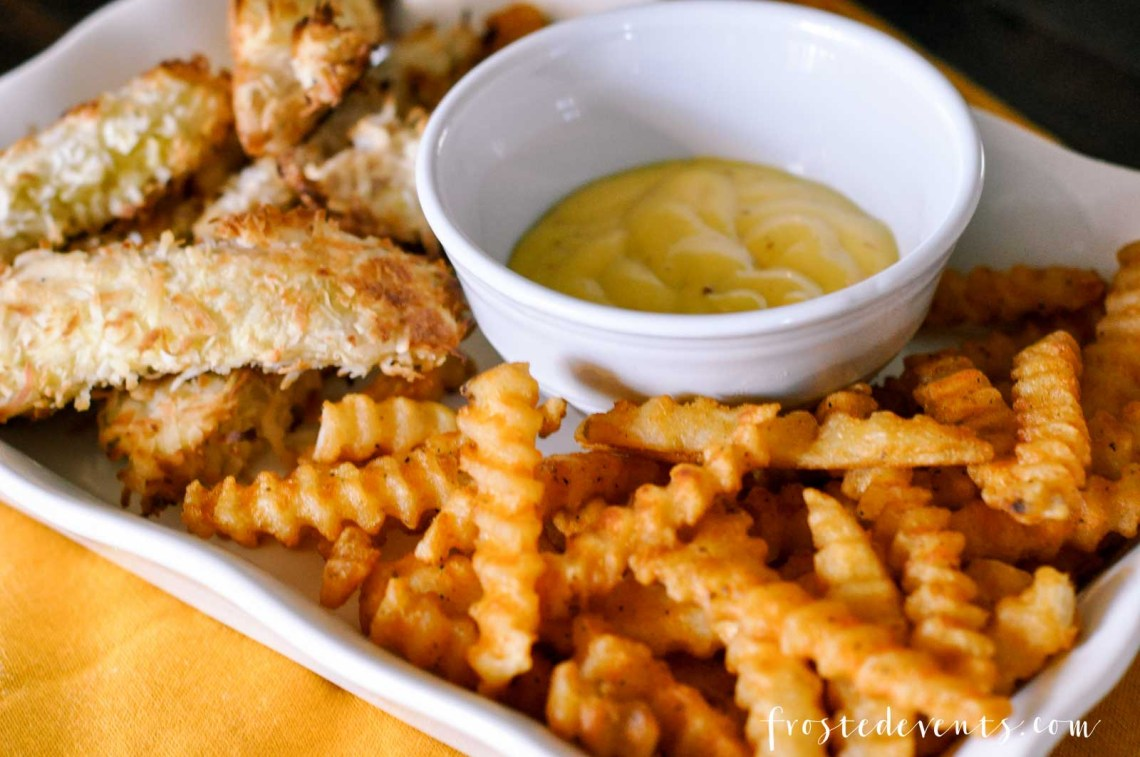 Baked Chicken Tenders Recipe - Coconut Chicken Strips and Tasty McCain Seasoned Fries -- Easy dinner ideas via Misty Nelson Frosted Moms Blog @frostedevents