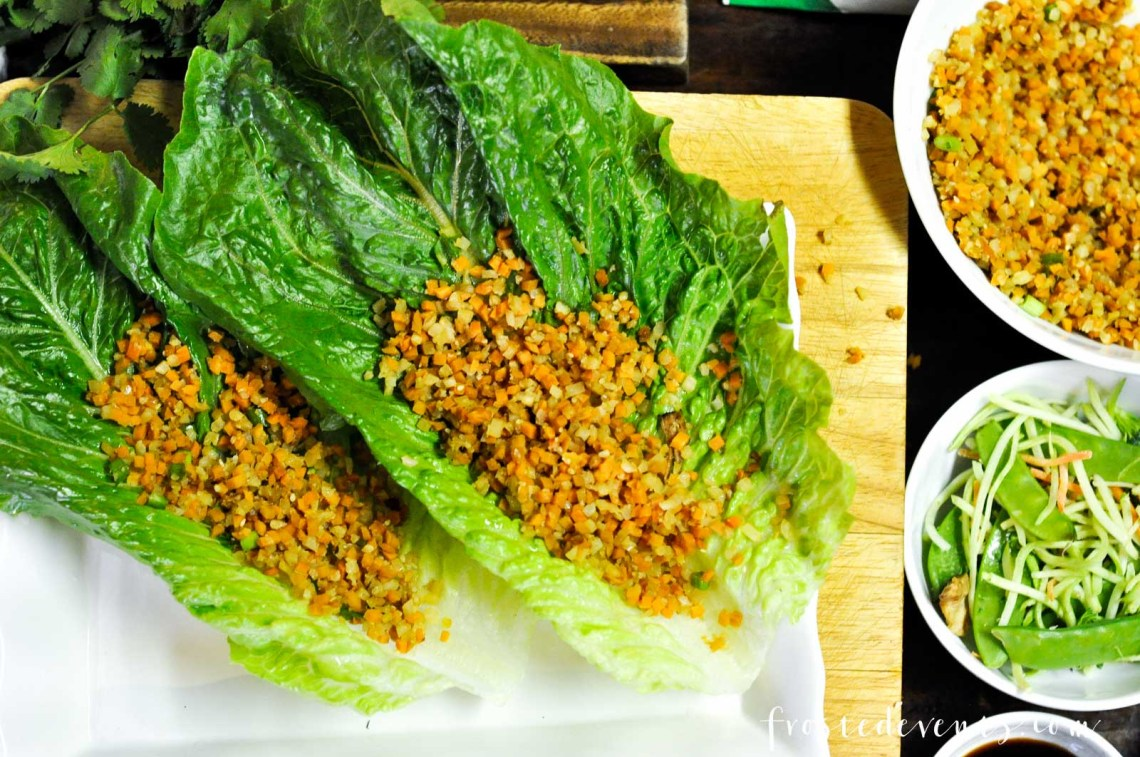 Easy Recipes - Chicken Lettuce Wraps with Cauliflower Rice Green Giant Riced Veggies via Misty Nelson frostedmoms.com @frostedevents