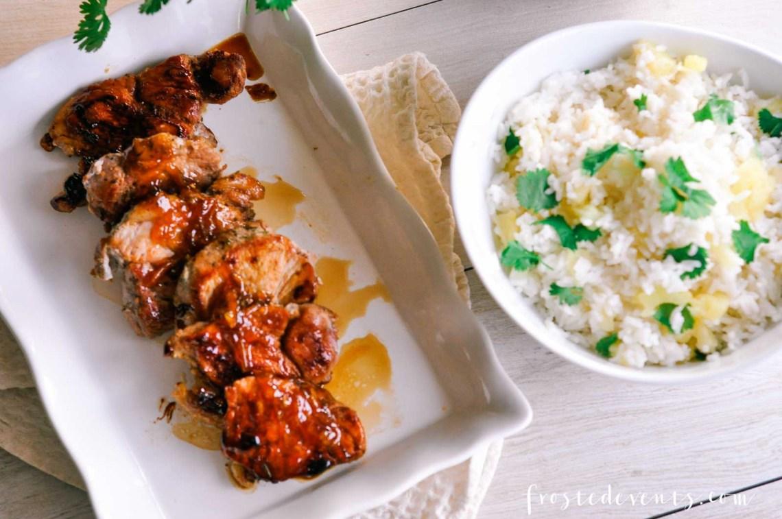 Easy Pork Recipes - Sweet Garlic Pork Loin with Ginger Glaze & Pineapple Cilantro Rice