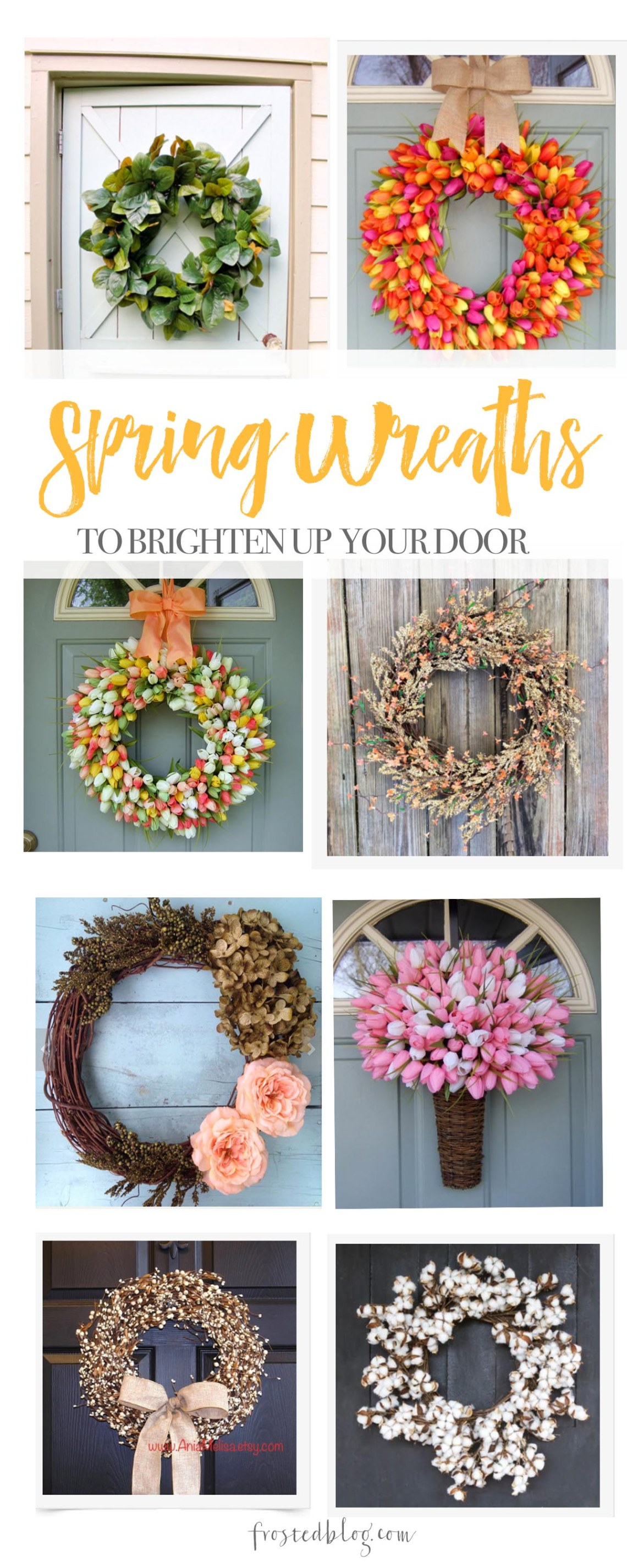 Spring Wreaths to Brighten Up Your Door - Home Decor Ideas and Inspiration via Misty Nelson @frostedevents frostedblog.com