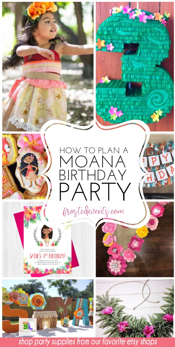 Moana Birthday Party Supplies - Moana Party Planner, shop links to moana party decorations via frostedevents.com