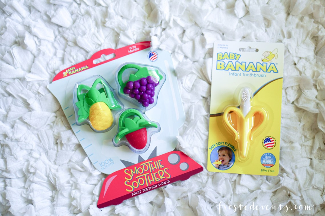Newborn Stuff - New Mom List of Essentials and Baby Products via Misty Nelson, Frosted Blog @frostedevents Smoothie Soothers and Banana Baby Teething Toys