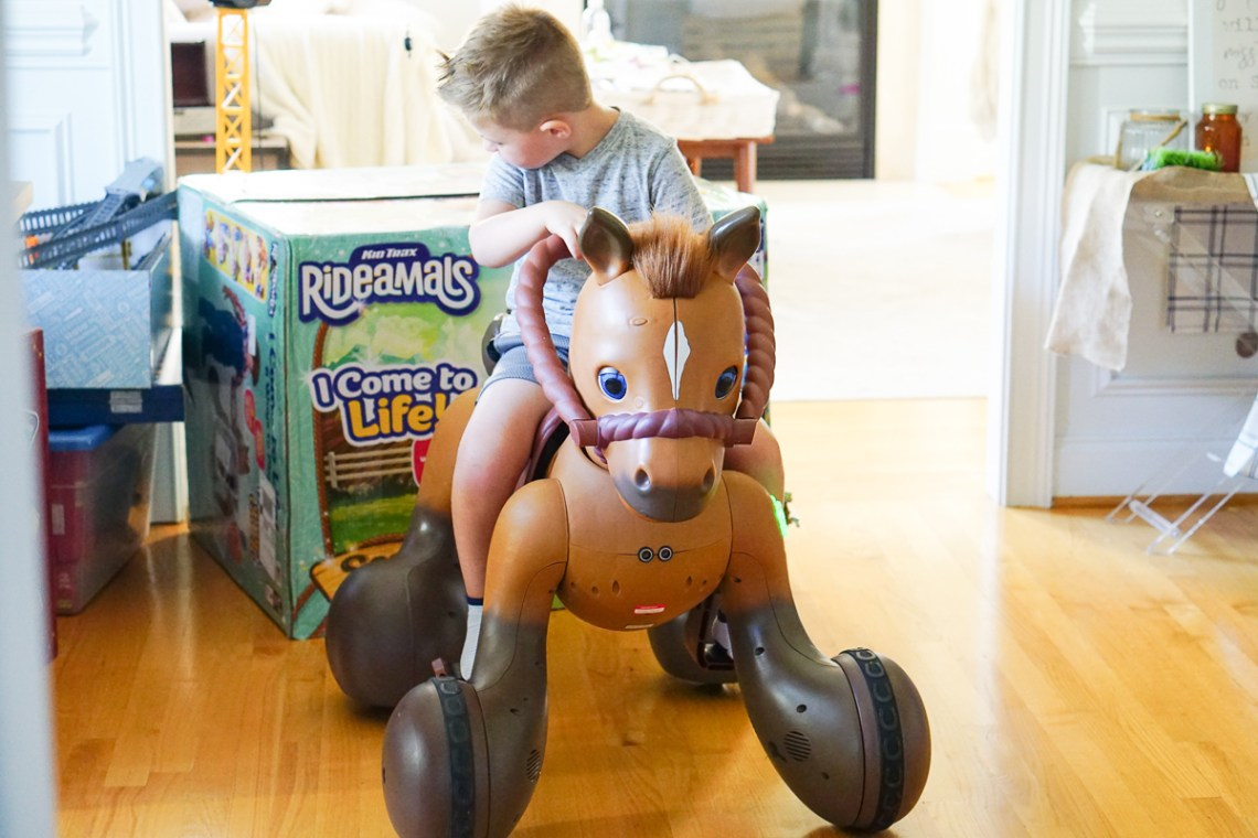 KidTrax Rideamals Scout Pony Kids Ride-On Toys - Hot Toys 2018 via Misty Nelson, Frosted Blog @frostedevents