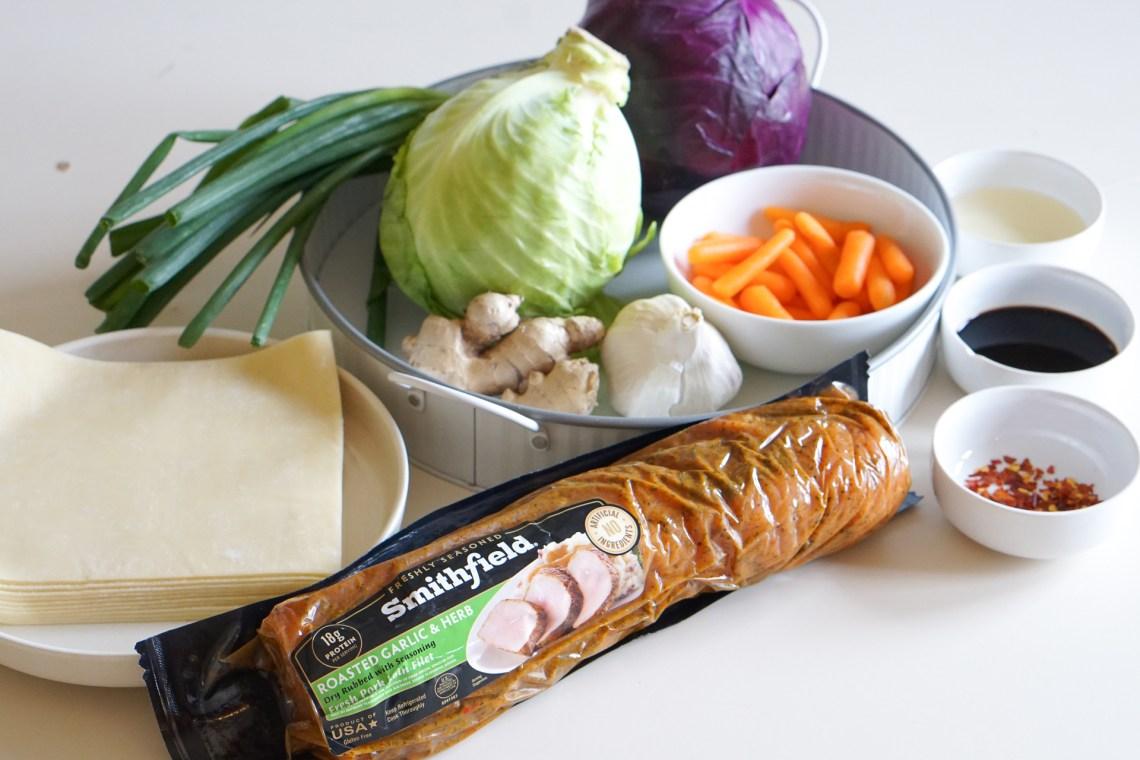 Crispy Pork and Vegetable Spring Rolls