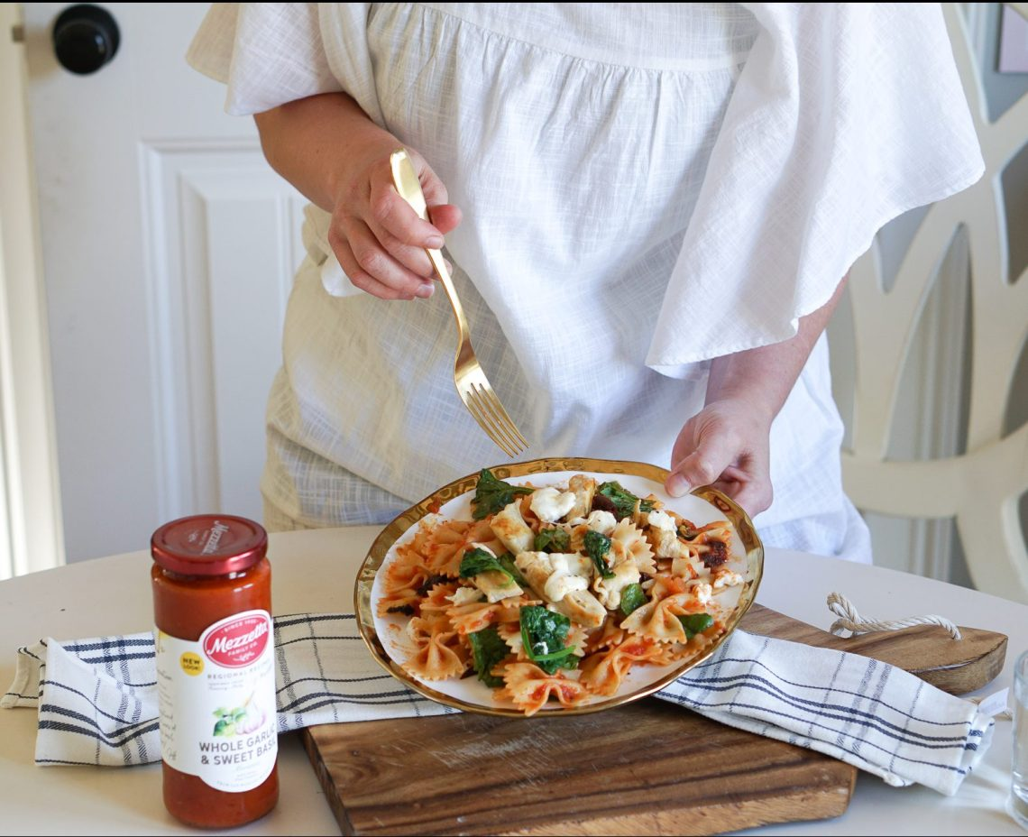 Sun-dried Tomato & Spinach Pasta with Mozzarella Recipe - Pasta Dishes and Dinner Ideas