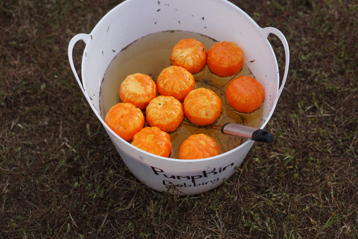 Halloween Games for Kids - Pumpkin Bobbing - Fun Kids Games via Misty Nelson, mom blogger @frostedevents