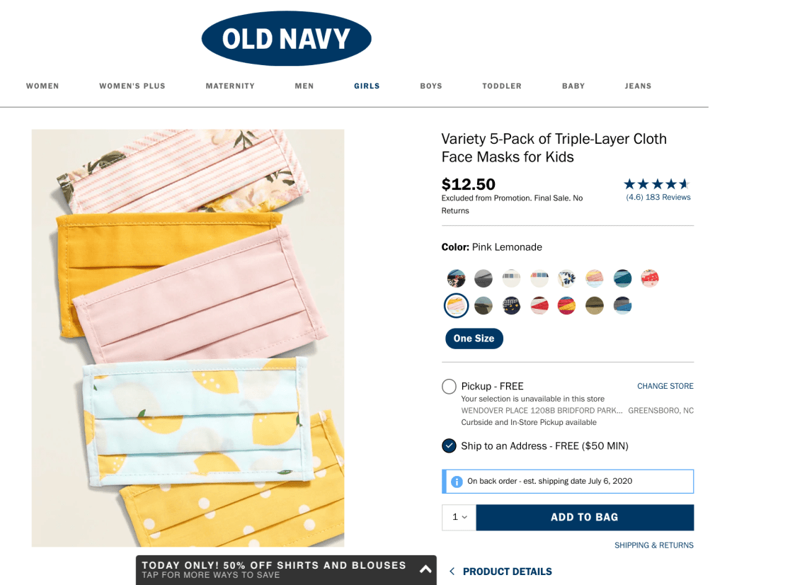 Old Navy Cloth Face Masks