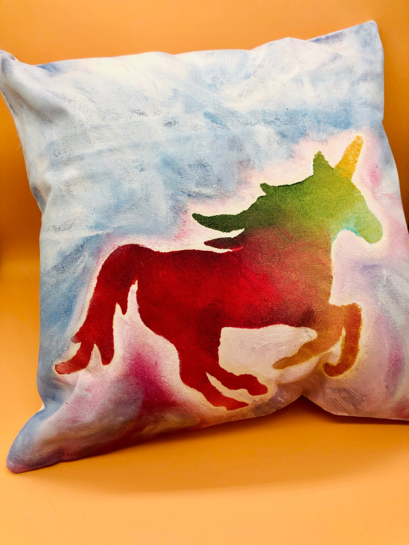 Unicorn Watercolor Pillow