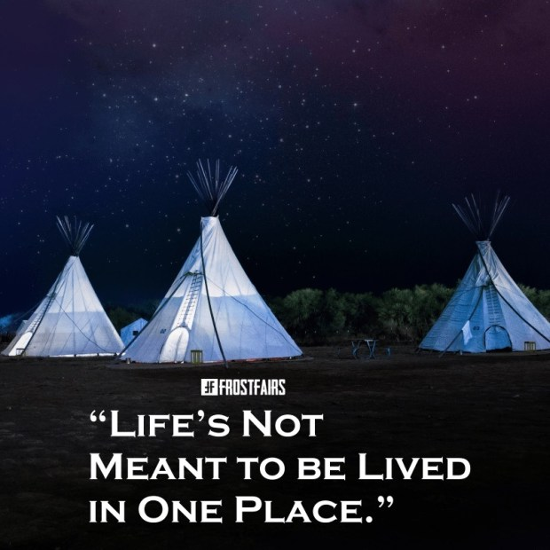 inspirational quote by an anonymous author on the image of a camping site under the stars