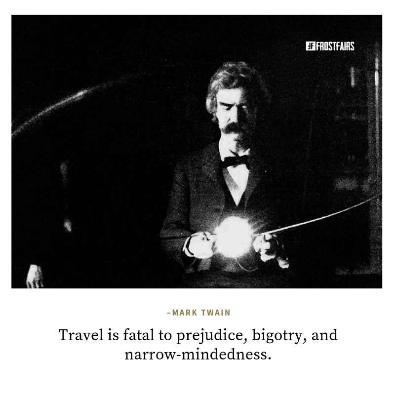 inspirational travel abroad quote by Mark Twain on Mark Twain portrait image