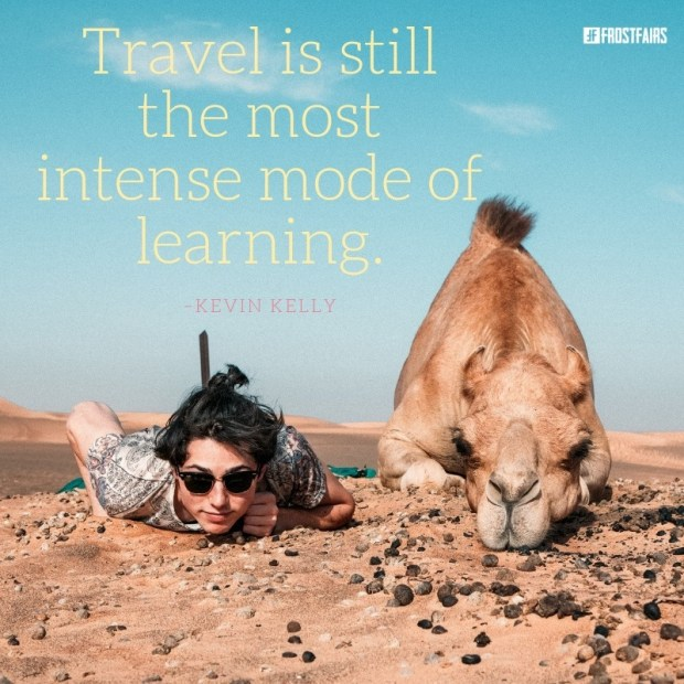 inspirational desert view with a quote by Kevin Kelly about learning through travel