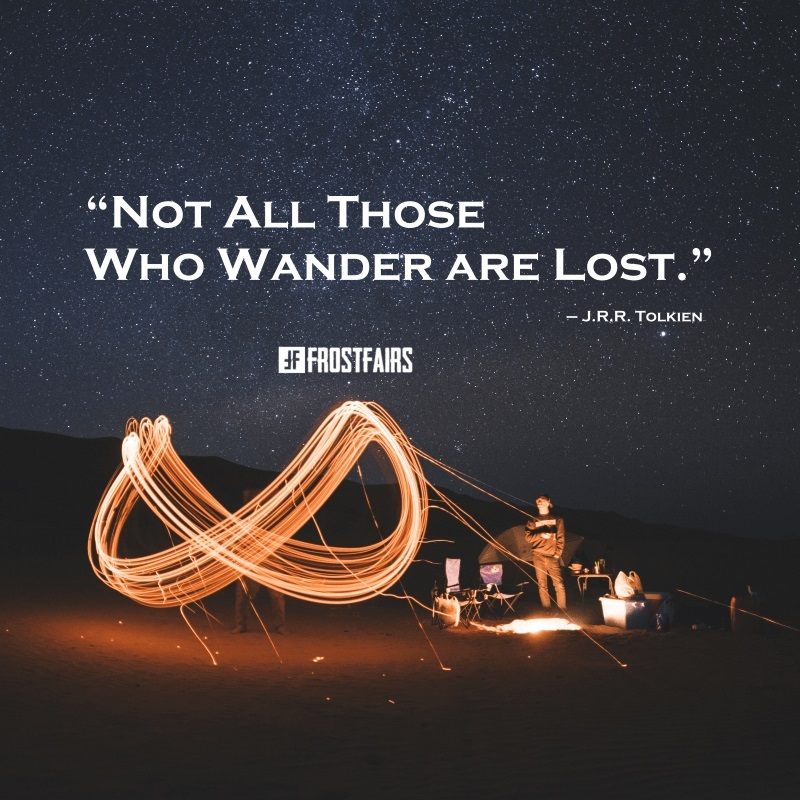 "Quote by J.R.R. Tolkien: ""Not all those who wander are lost."""