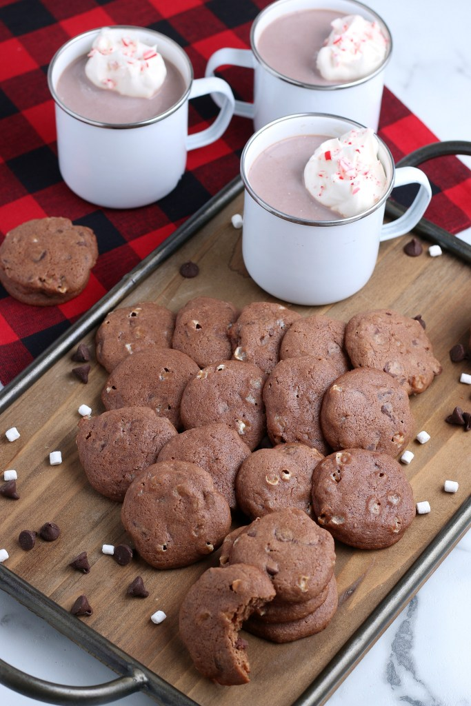 red buffalo tea towel and tray with hot chocolate cookies