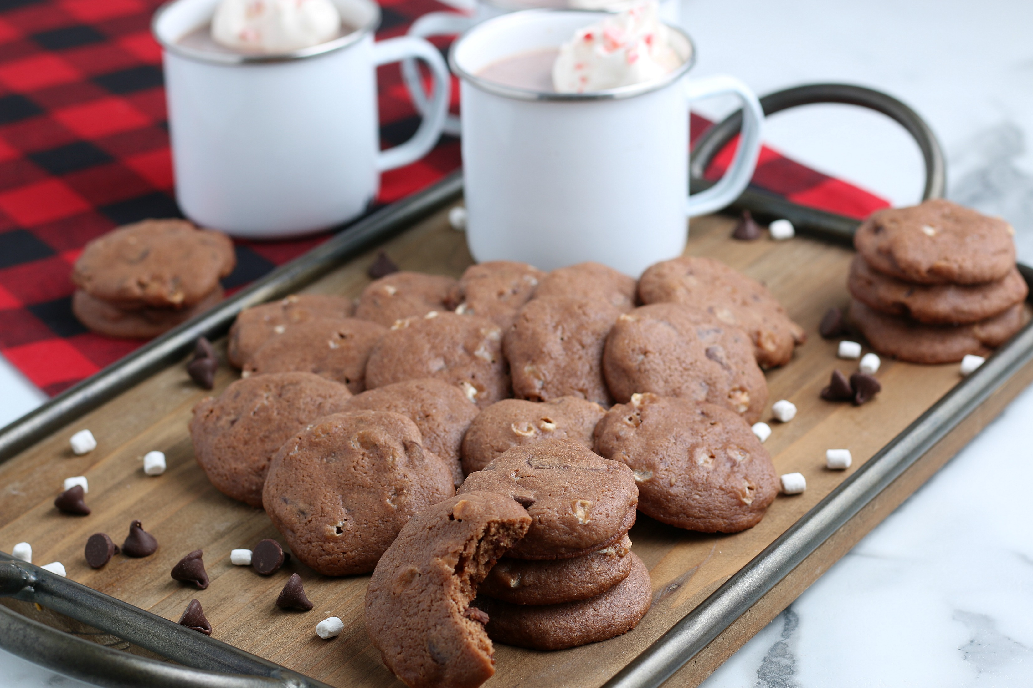 hot chocolate cookies with hot cocoa and marshmallows