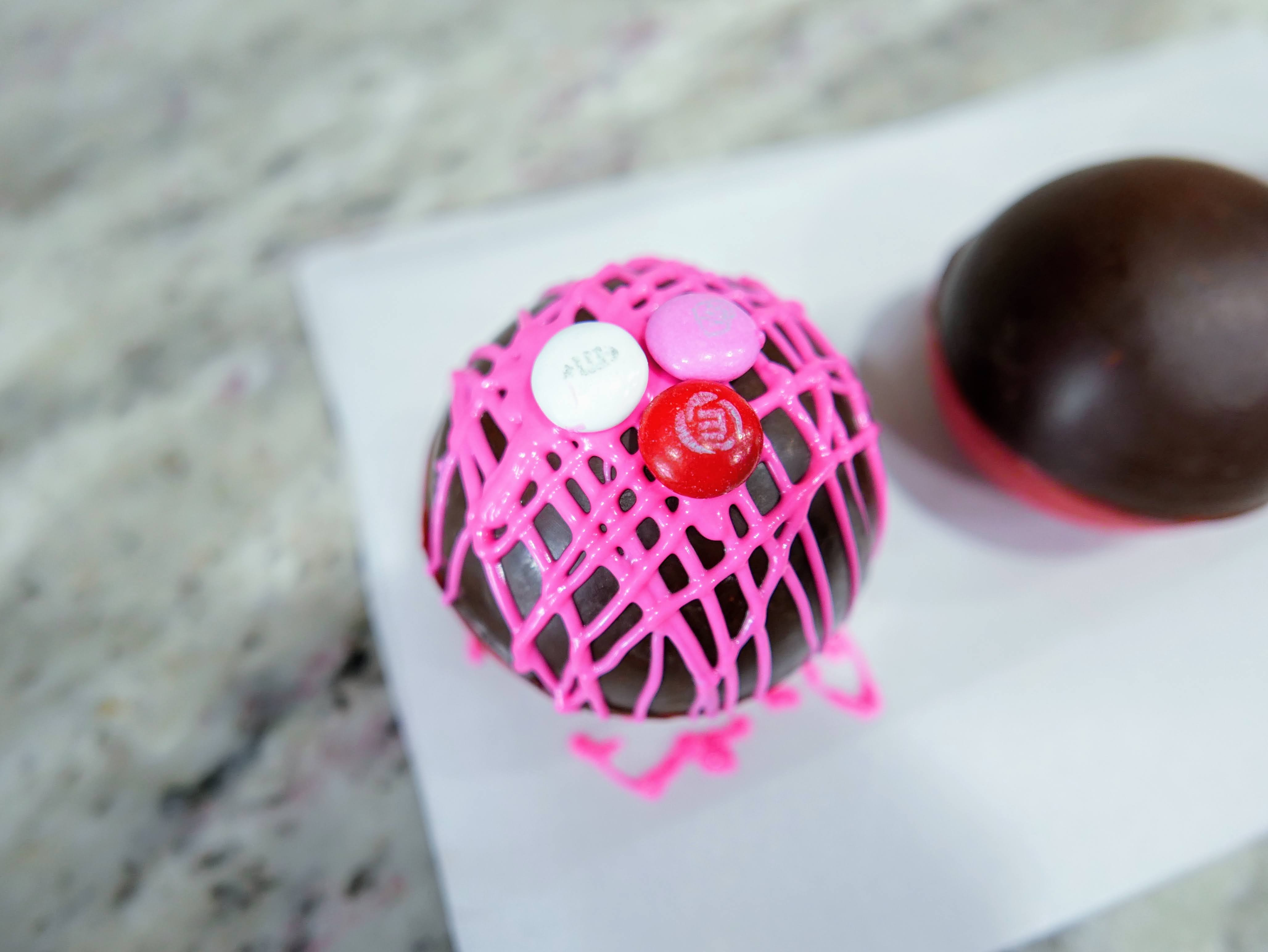 hot chocolate bombs with valentine's decorations