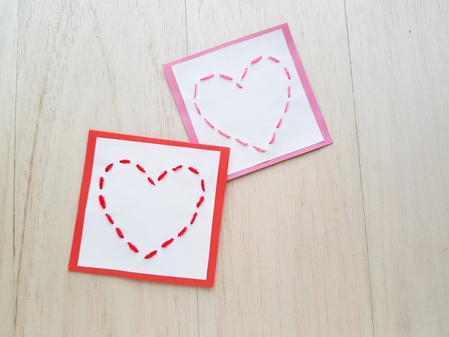 two heart stitch paper craft
